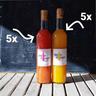 Mein Ginger Beere Flasche und Mein Ginger Flasche mit je 5x Beschriftung, zur Anzeige als 10er Set Mein Ginger Beere + Mein Ginger